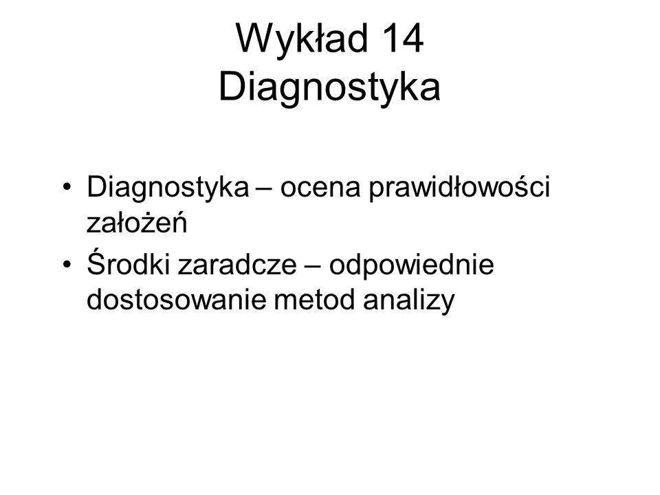Wykład 14 Diagnostyka Diagnostyka – ocena prawidłowości założeń