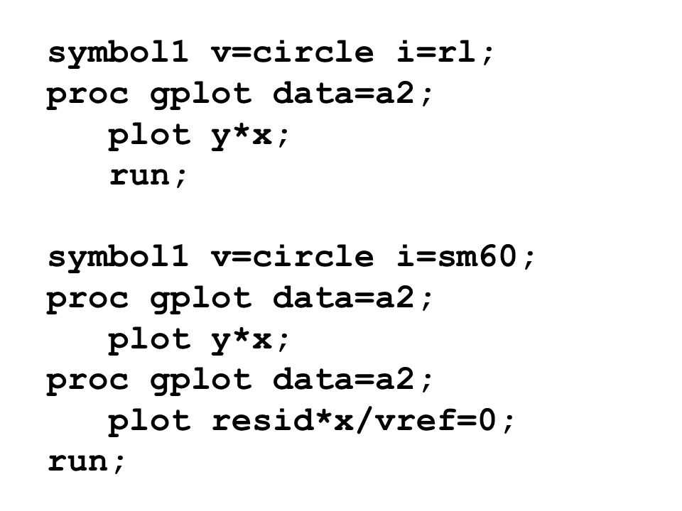 symbol1 v=circle i=rl; proc gplot data=a2; plot y*x; run; symbol1 v=circle i=sm60; plot resid*x/vref=0;