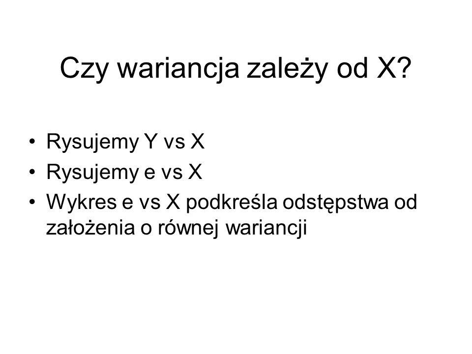 Czy wariancja zależy od X
