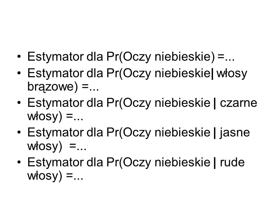 Estymator dla Pr(Oczy niebieskie) =...