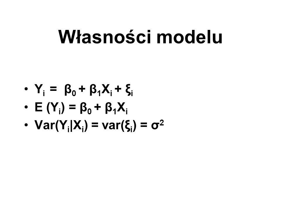 Własności modelu Yi = β0 + β1Xi + ξi E (Yi) = β0 + β1Xi