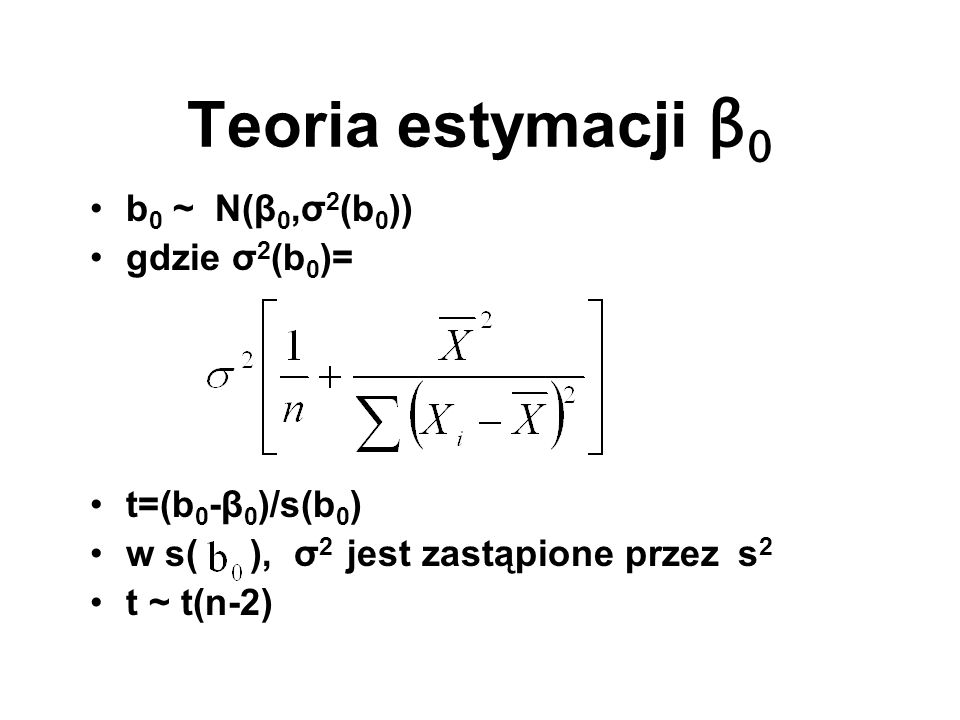 Teoria estymacji β0 b0 ~ N(β0,σ2(b0)) gdzie σ2(b0)= t=(b0-β0)/s(b0)