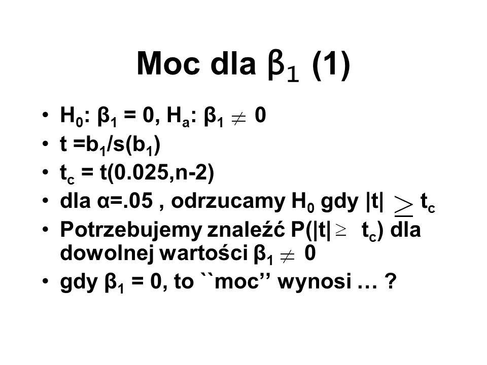 Moc dla β1 (1) H0: β1 = 0, Ha: β1 0 t =b1/s(b1) tc = t(0.025,n-2)