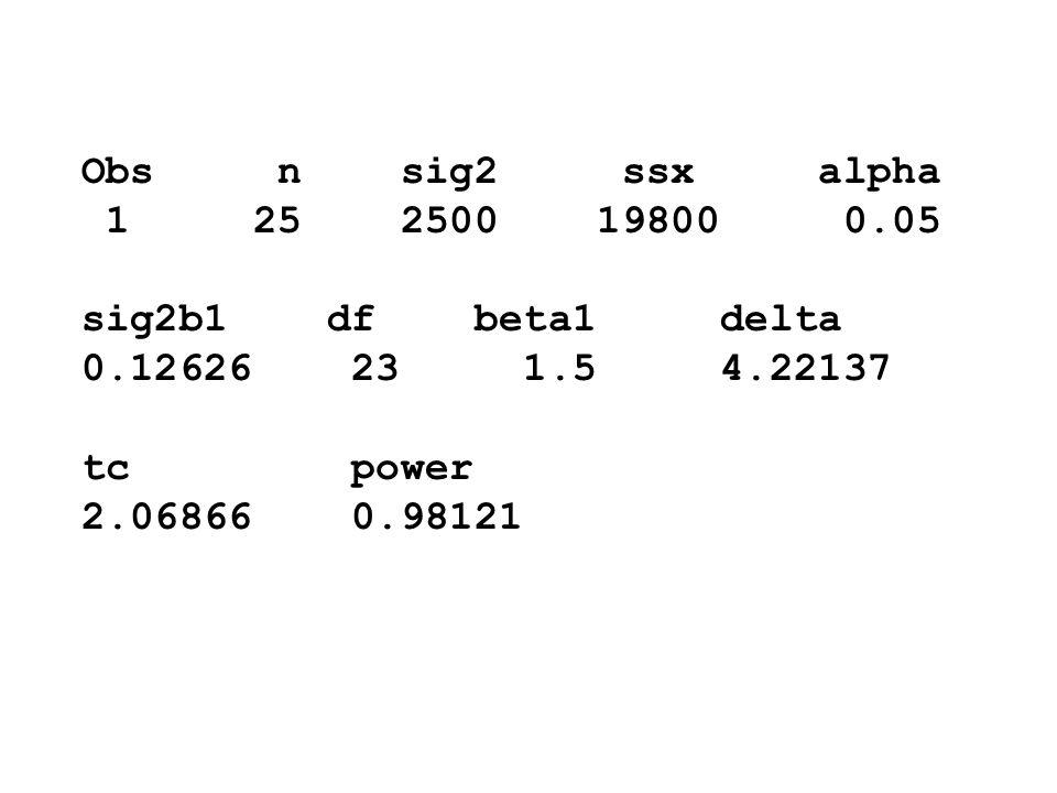 Obs n sig2 ssx alpha 1 25 2500 19800 0.05. sig2b1 df beta1 delta.