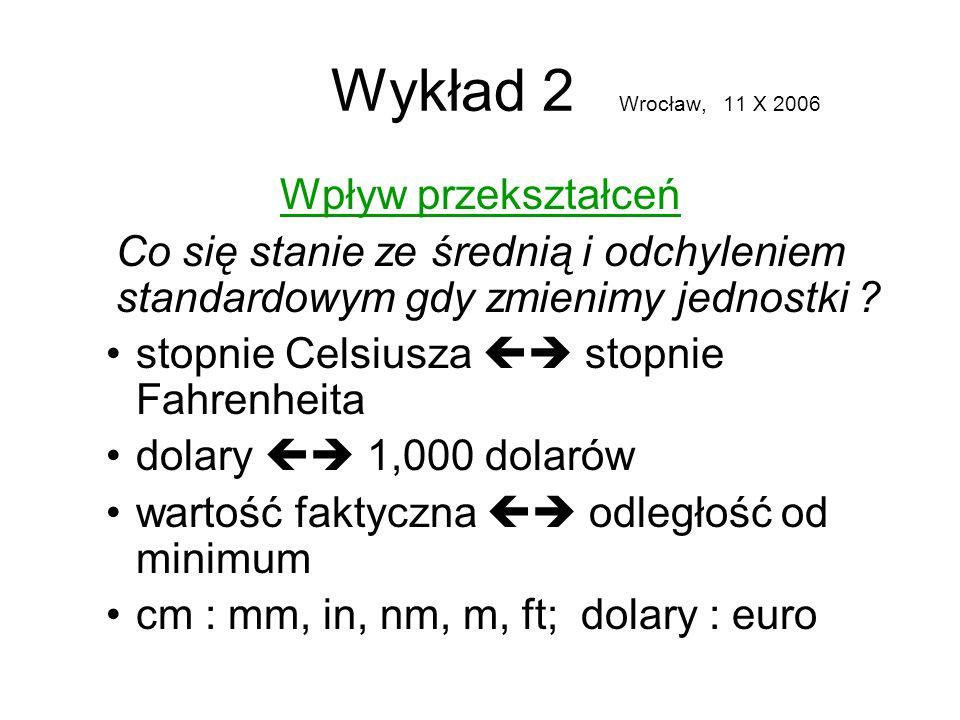 Wykład 2 Wrocław, 11 X 2006 Wpływ przekształceń