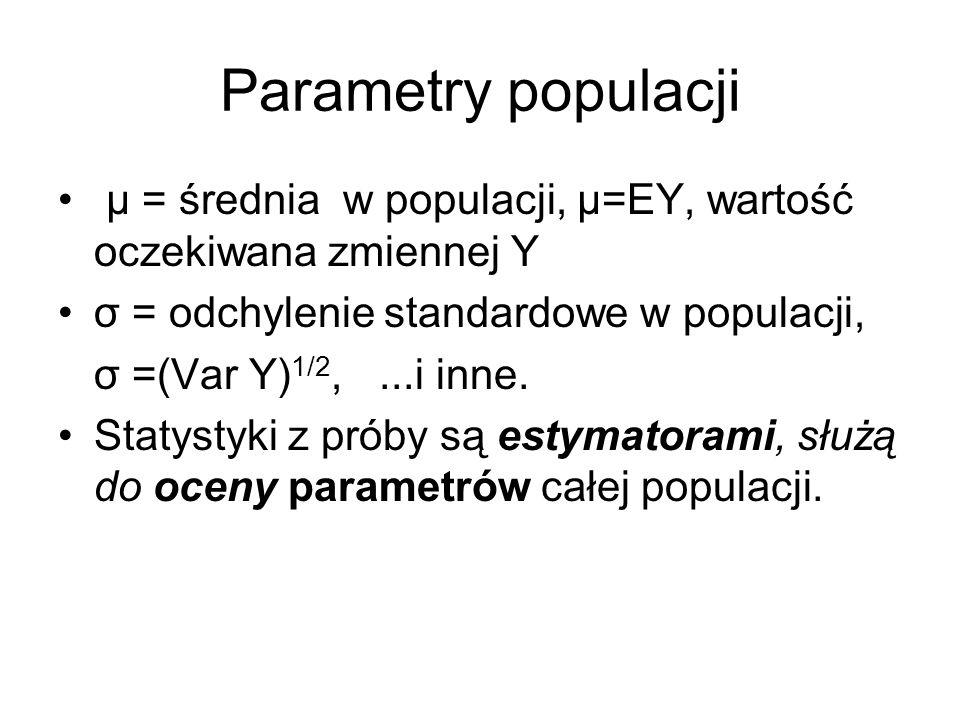 Parametry populacjiμ = średnia w populacji, μ=EY, wartość oczekiwana zmiennej Y. σ = odchylenie standardowe w populacji,