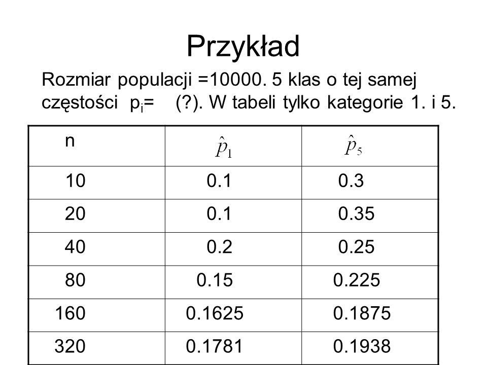 Przykład Rozmiar populacji =10000. 5 klas o tej samej częstości pi= ( ). W tabeli tylko kategorie 1. i 5.