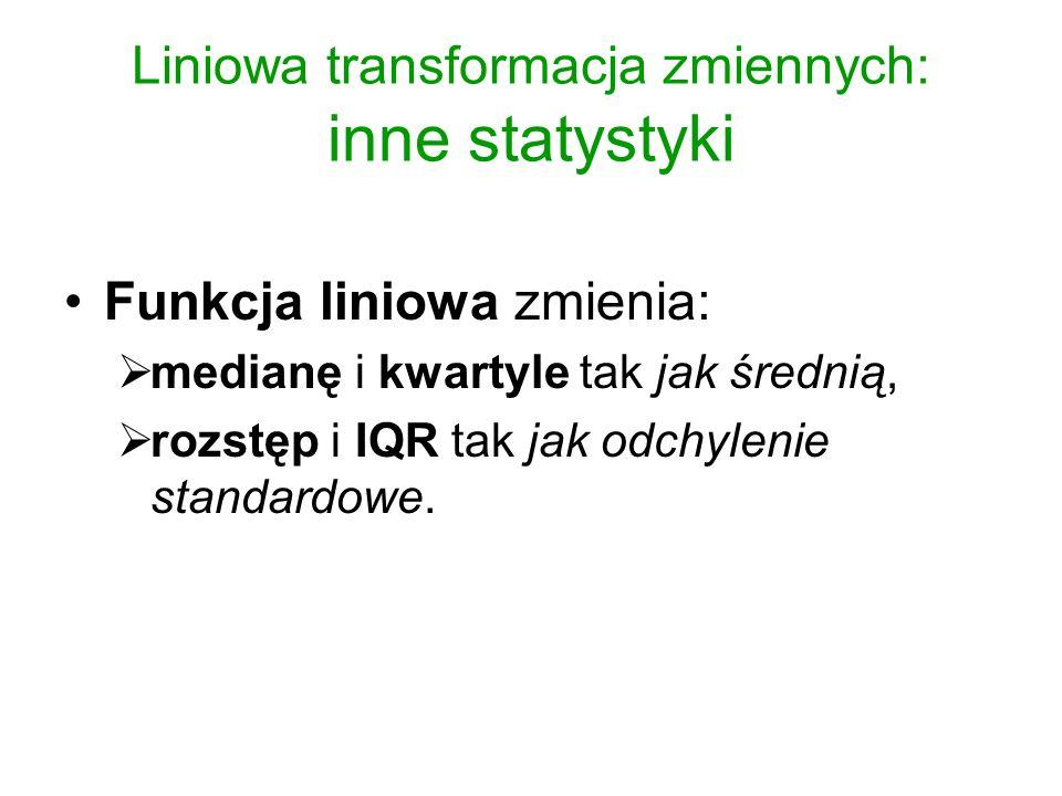 Liniowa transformacja zmiennych: inne statystyki