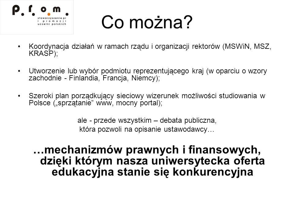 Co można Koordynacja działań w ramach rządu i organizacji rektorów (MSWiN, MSZ, KRASP);