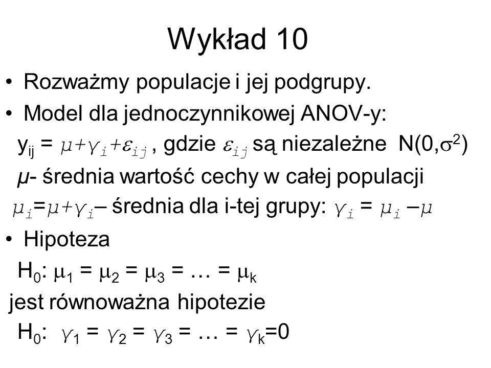Wykład 10 Rozważmy populacje i jej podgrupy.