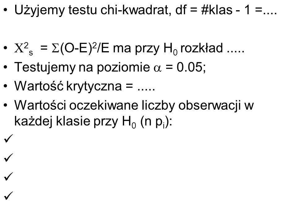Użyjemy testu chi-kwadrat, df = #klas - 1 =....