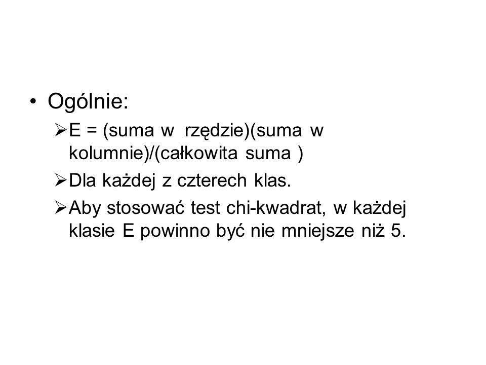 Ogólnie: E = (suma w rzędzie)(suma w kolumnie)/(całkowita suma )
