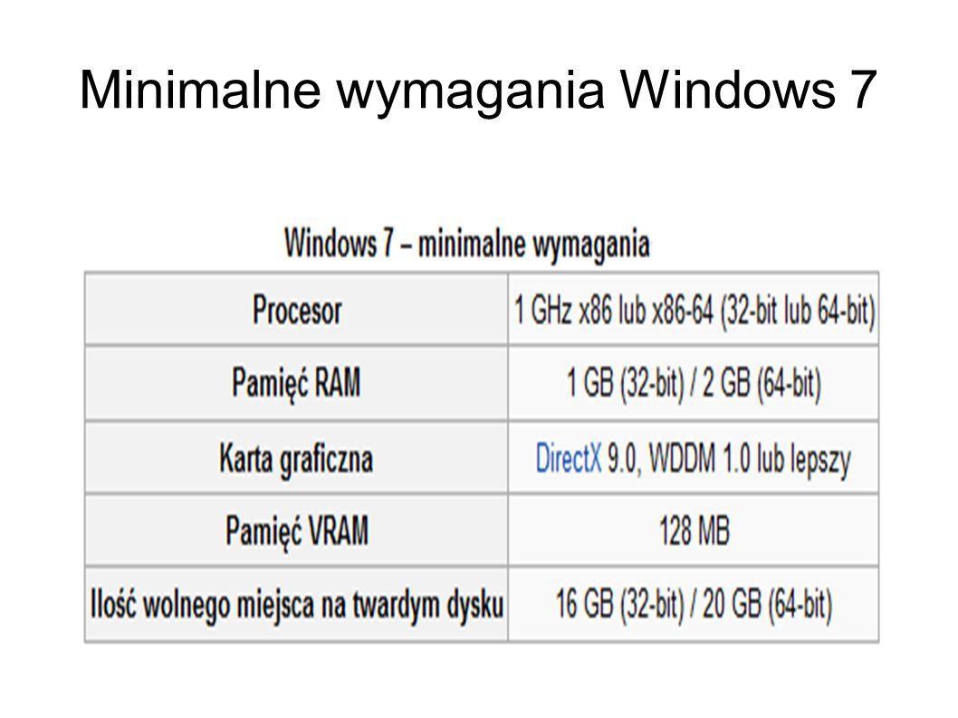 Minimalne wymagania Windows 7