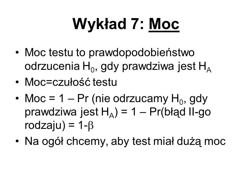 Wykład 7: Moc Moc testu to prawdopodobieństwo odrzucenia H0, gdy prawdziwa jest HA. Moc=czułość testu.