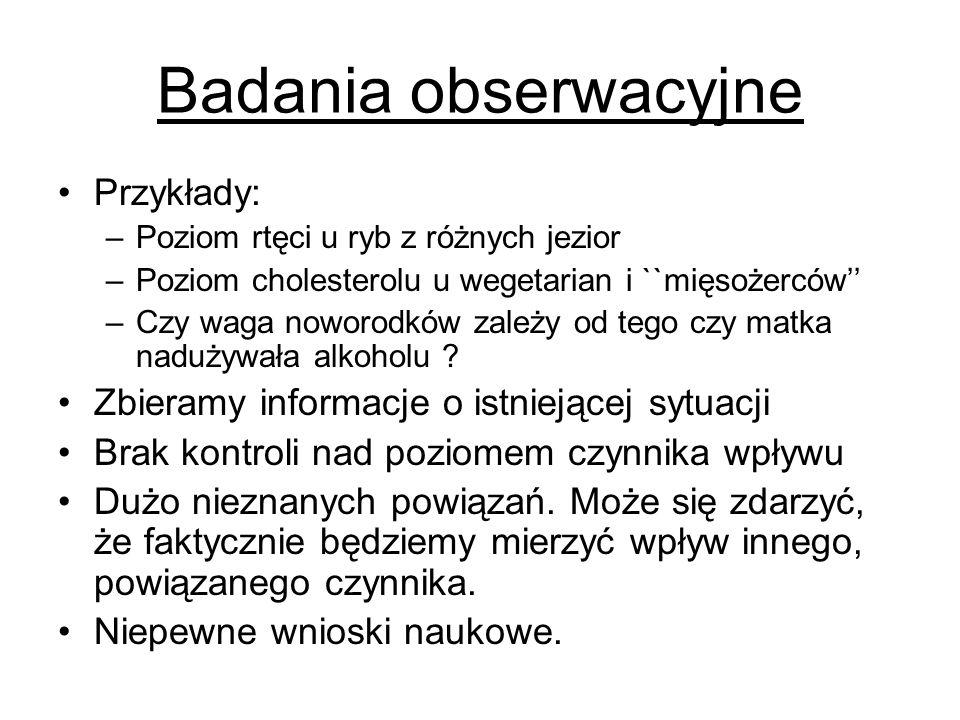 Badania obserwacyjne Przykłady: