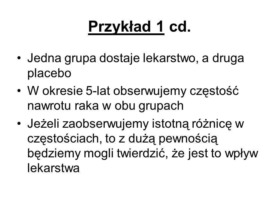 Przykład 1 cd. Jedna grupa dostaje lekarstwo, a druga placebo