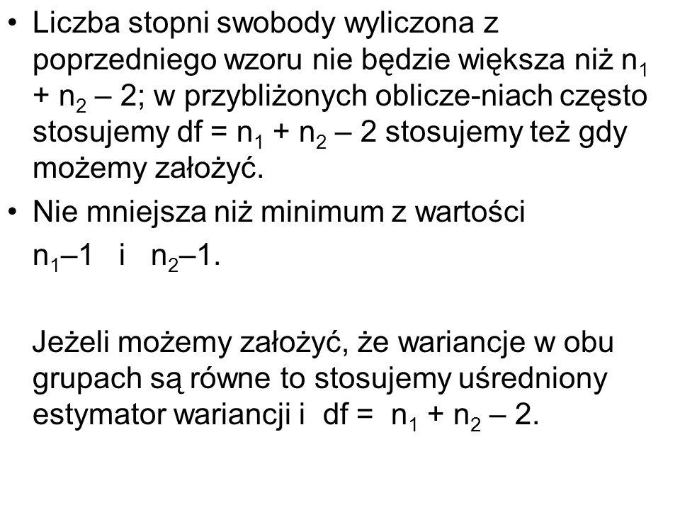Liczba stopni swobody wyliczona z poprzedniego wzoru nie będzie większa niż n1 + n2 – 2; w przybliżonych oblicze-niach często stosujemy df = n1 + n2 – 2 stosujemy też gdy możemy założyć.