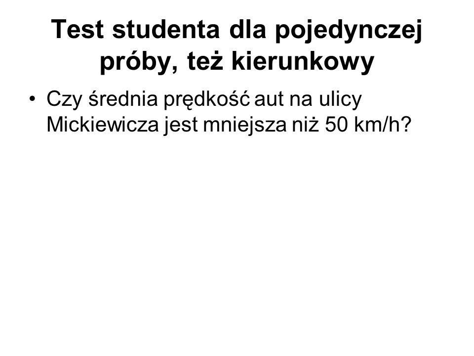 Test studenta dla pojedynczej próby, też kierunkowy