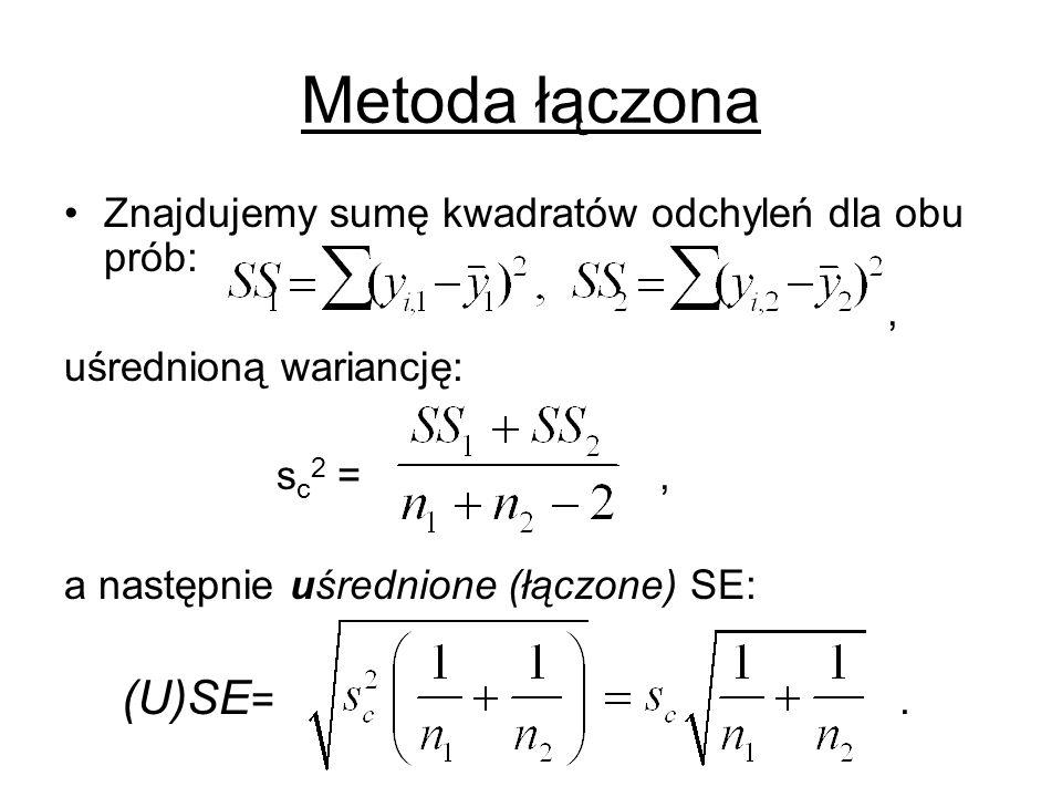 Metoda łączona Znajdujemy sumę kwadratów odchyleń dla obu prób: ,