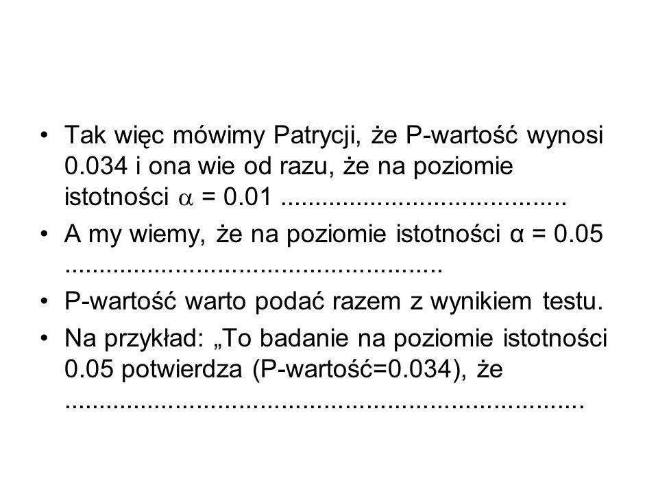 Tak więc mówimy Patrycji, że P-wartość wynosi 0