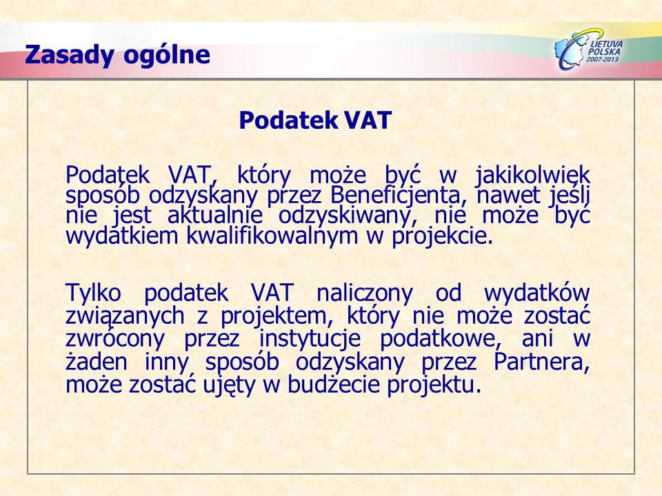 Zasady ogólne Podatek VAT
