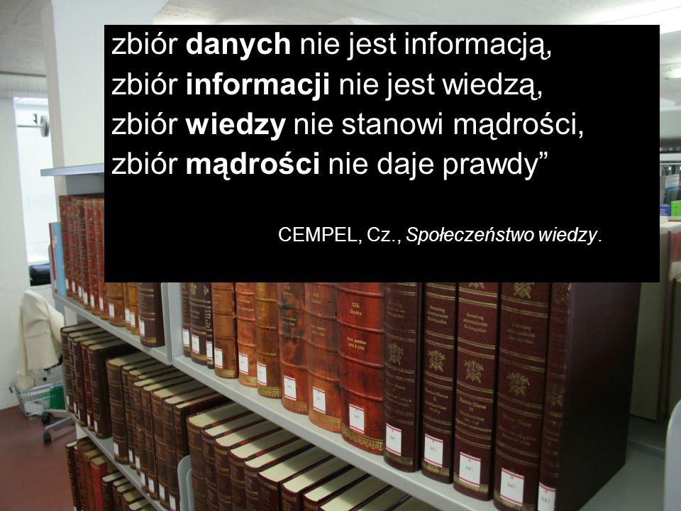 zbiór danych nie jest informacją, zbiór informacji nie jest wiedzą,