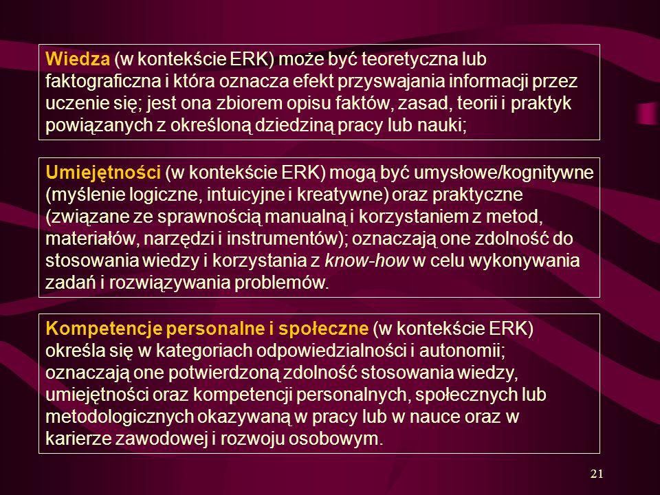 Wiedza (w kontekście ERK) może być teoretyczna lub faktograficzna i która oznacza efekt przyswajania informacji przez uczenie się; jest ona zbiorem opisu faktów, zasad, teorii i praktyk powiązanych z określoną dziedziną pracy lub nauki;