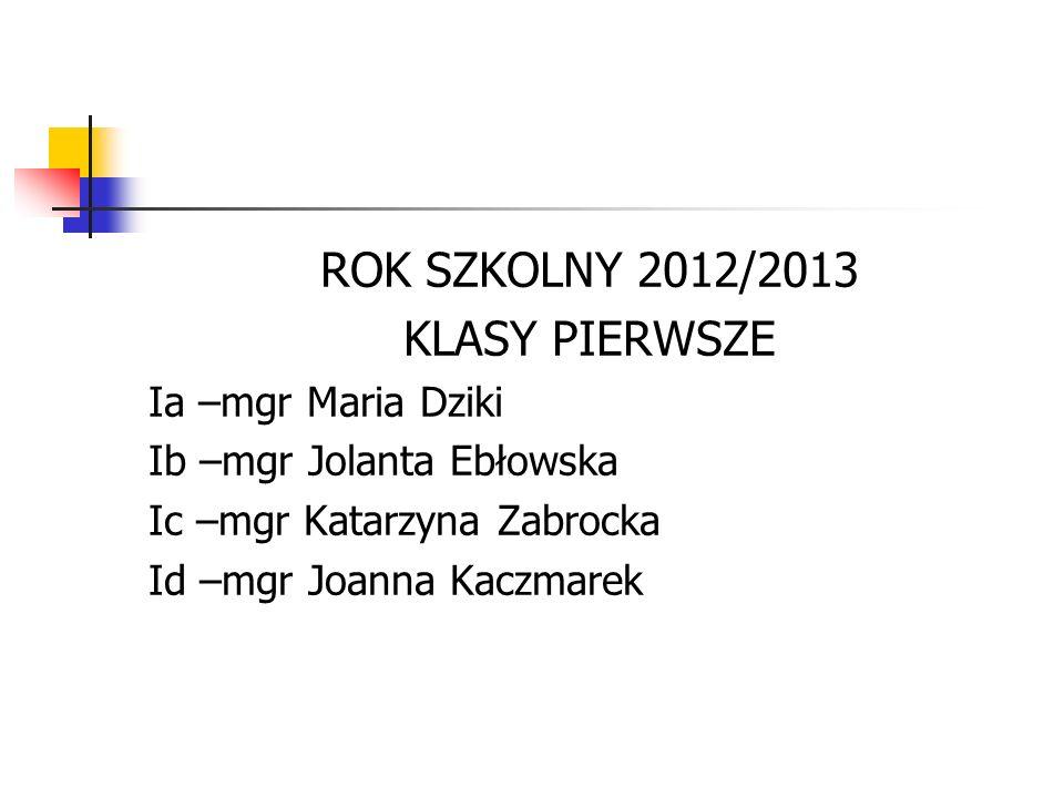 ROK SZKOLNY 2012/2013 KLASY PIERWSZE Ia –mgr Maria Dziki