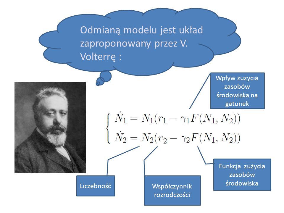 Odmianą modelu jest układ zaproponowany przez V. Volterrę :