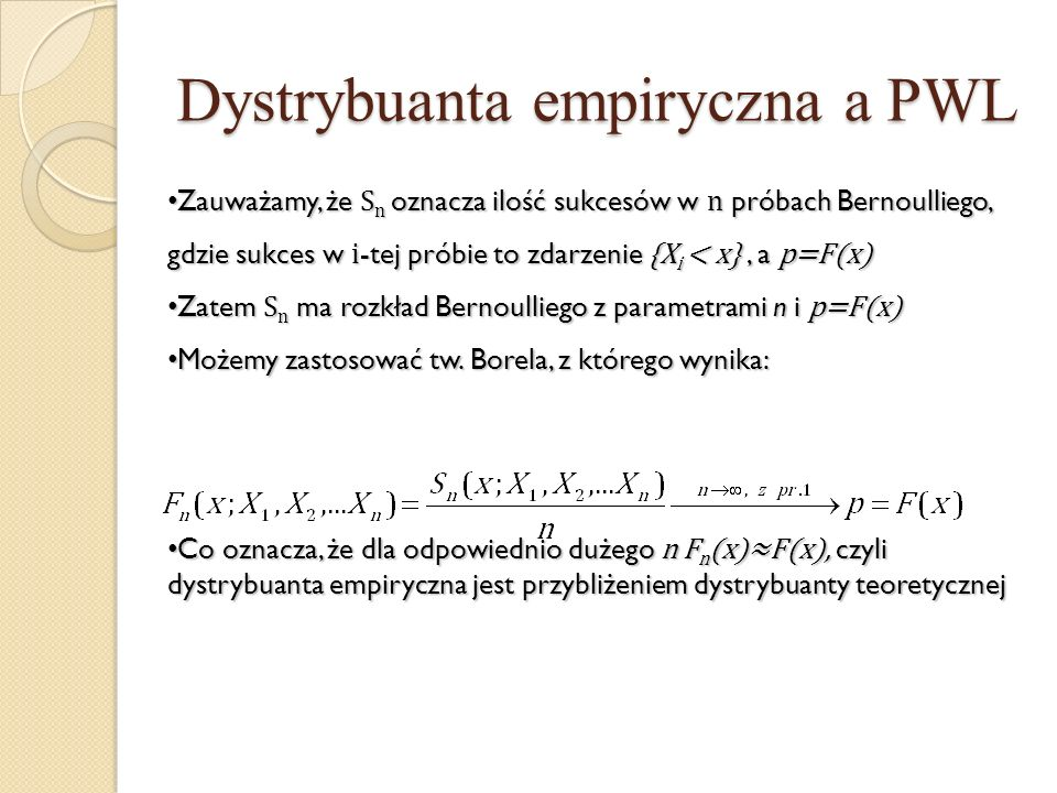 Dystrybuanta empiryczna a PWL