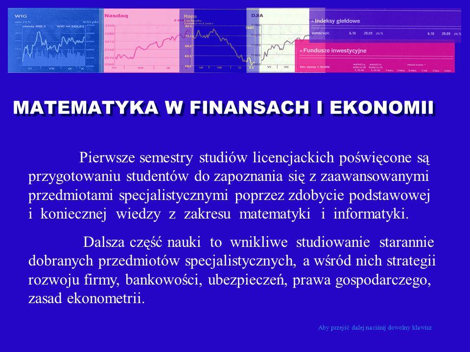 MATEMATYKA W FINANSACH I EKONOMII