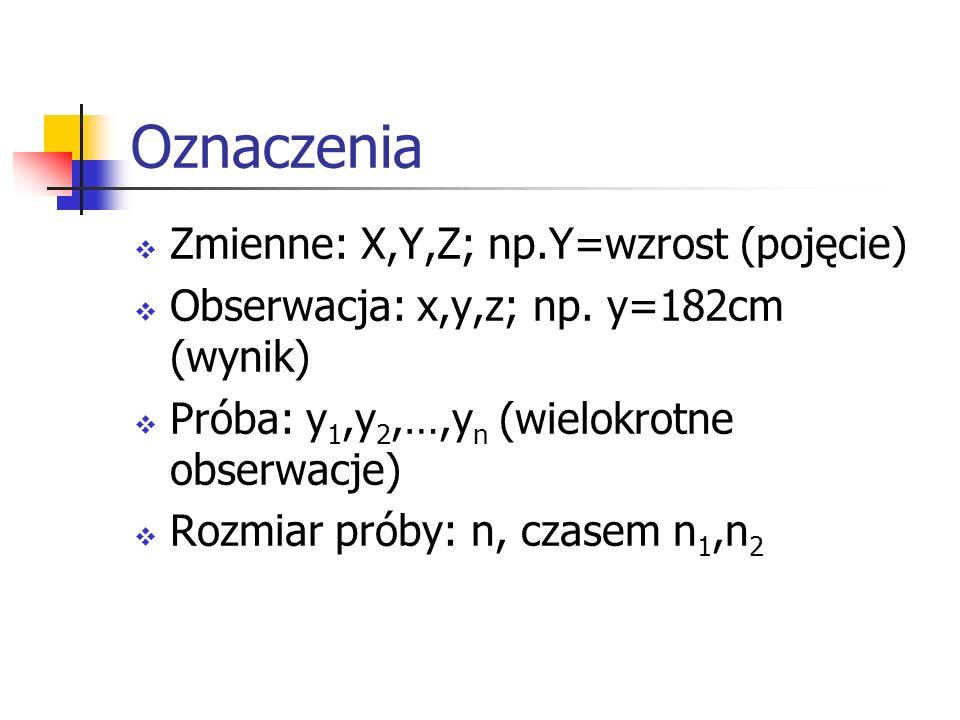 Oznaczenia Zmienne: X,Y,Z; np.Y=wzrost (pojęcie)