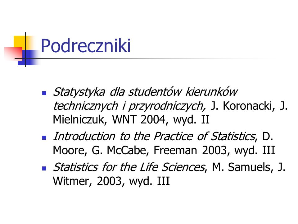 PodrecznikiStatystyka dla studentów kierunków technicznych i przyrodniczych, J. Koronacki, J. Mielniczuk, WNT 2004, wyd. II.