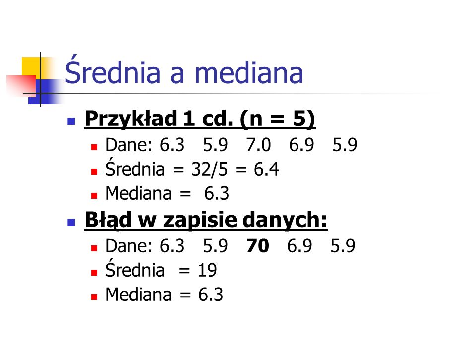 Średnia a mediana Przykład 1 cd. (n = 5) Błąd w zapisie danych: