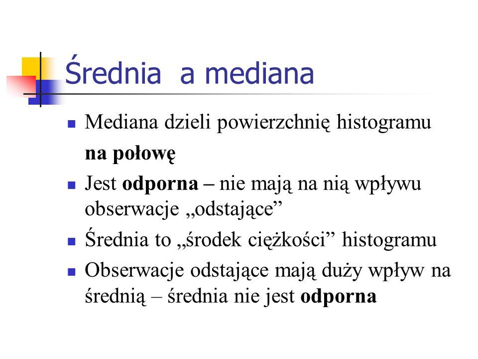 Średnia a mediana Mediana dzieli powierzchnię histogramu na połowę