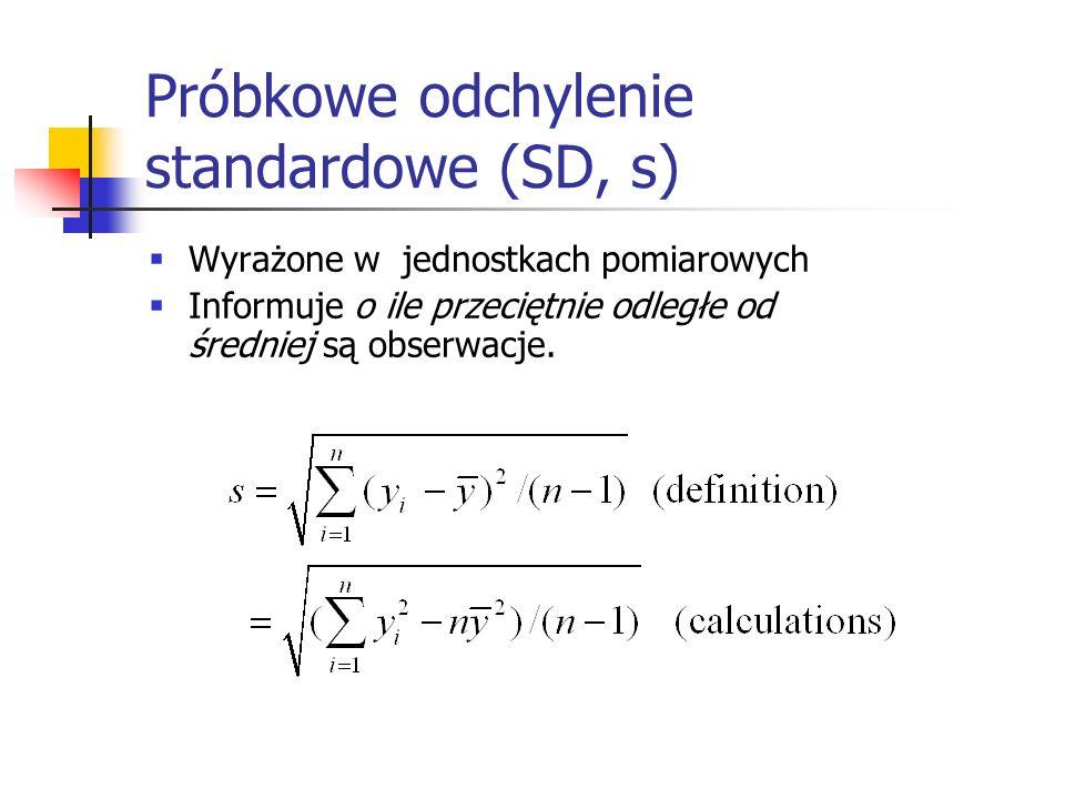 Próbkowe odchylenie standardowe (SD, s)