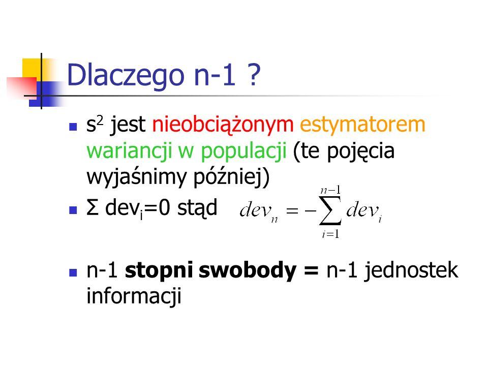 Dlaczego n-1 s2 jest nieobciążonym estymatorem wariancji w populacji (te pojęcia wyjaśnimy później)