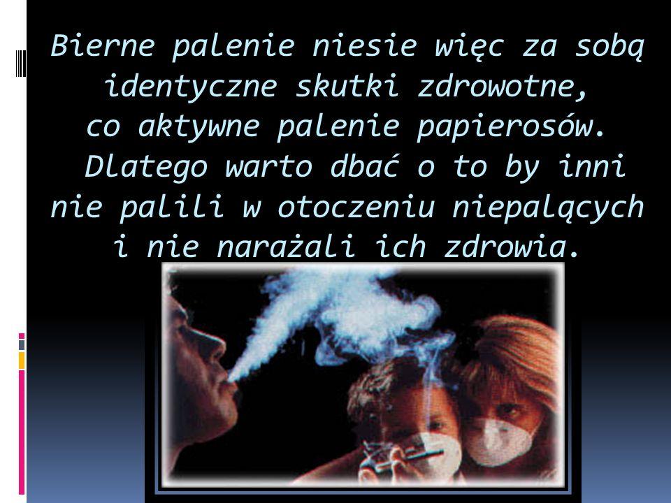 Bierne palenie niesie więc za sobą identyczne skutki zdrowotne, co aktywne palenie papierosów.