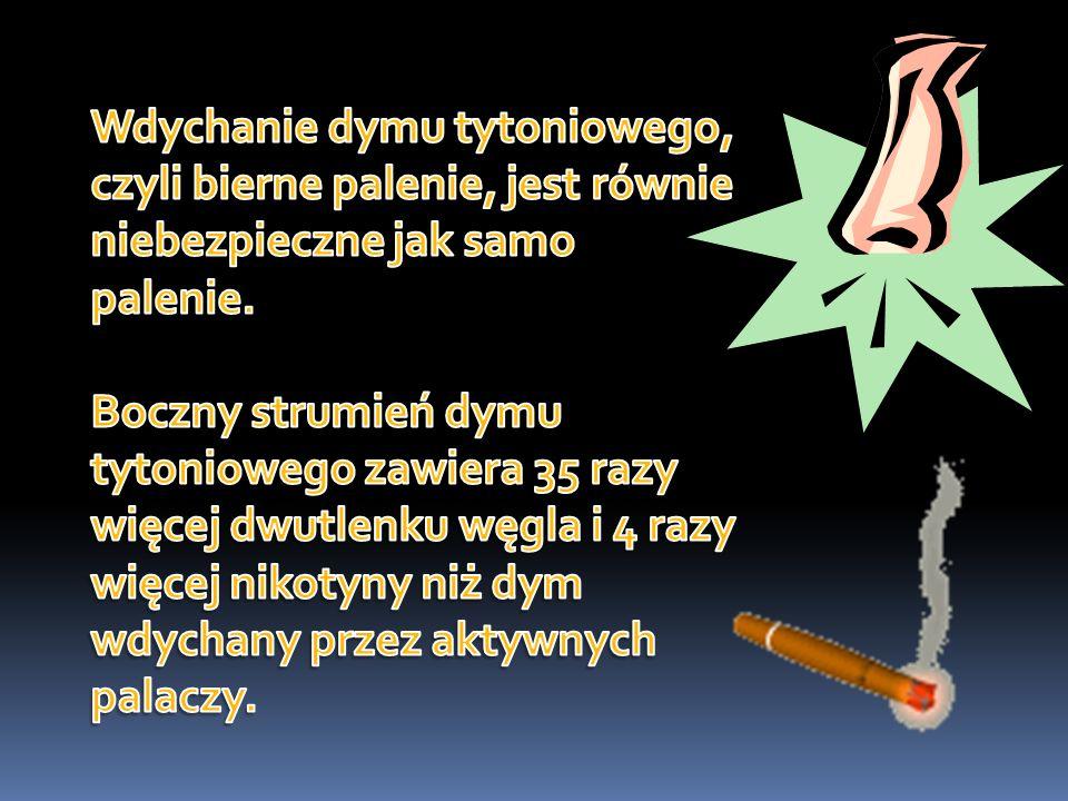 Wdychanie dymu tytoniowego, czyli bierne palenie, jest równie niebezpieczne jak samo palenie.