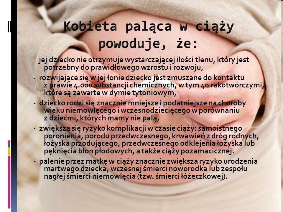 Kobieta paląca w ciąży powoduje, że: