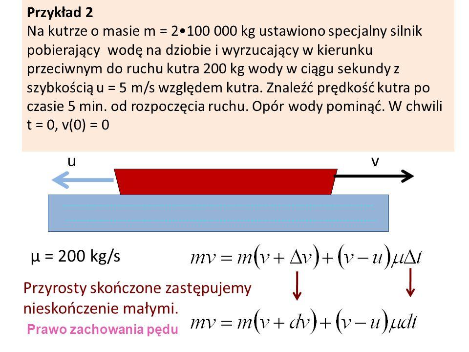 u v µ = 200 kg/s Przyrosty skończone zastępujemy nieskończenie małymi.