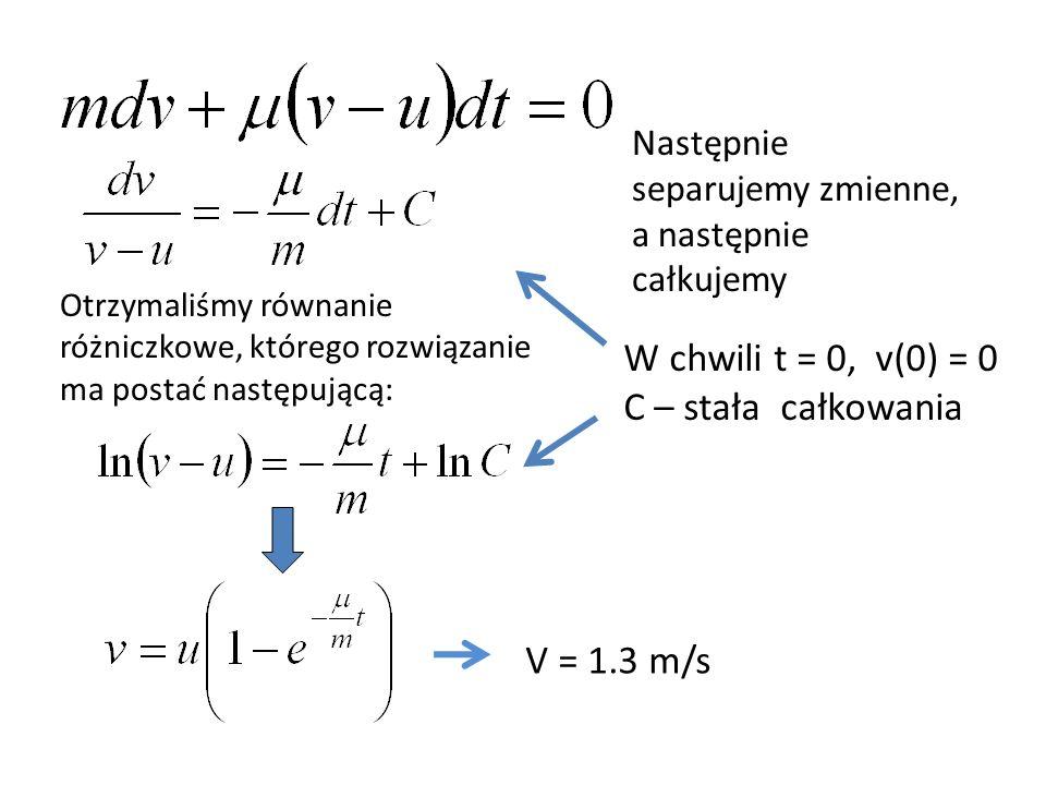 W chwili t = 0, v(0) = 0 C – stała całkowania V = 1.3 m/s