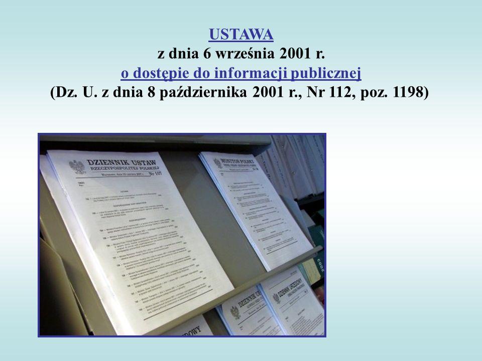 USTAWA z dnia 6 września 2001 r