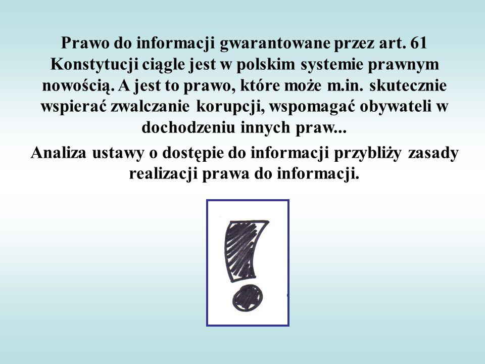 Prawo do informacji gwarantowane przez art