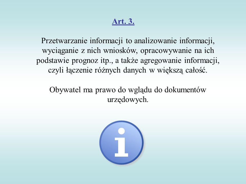 Obywatel ma prawo do wglądu do dokumentów urzędowych.