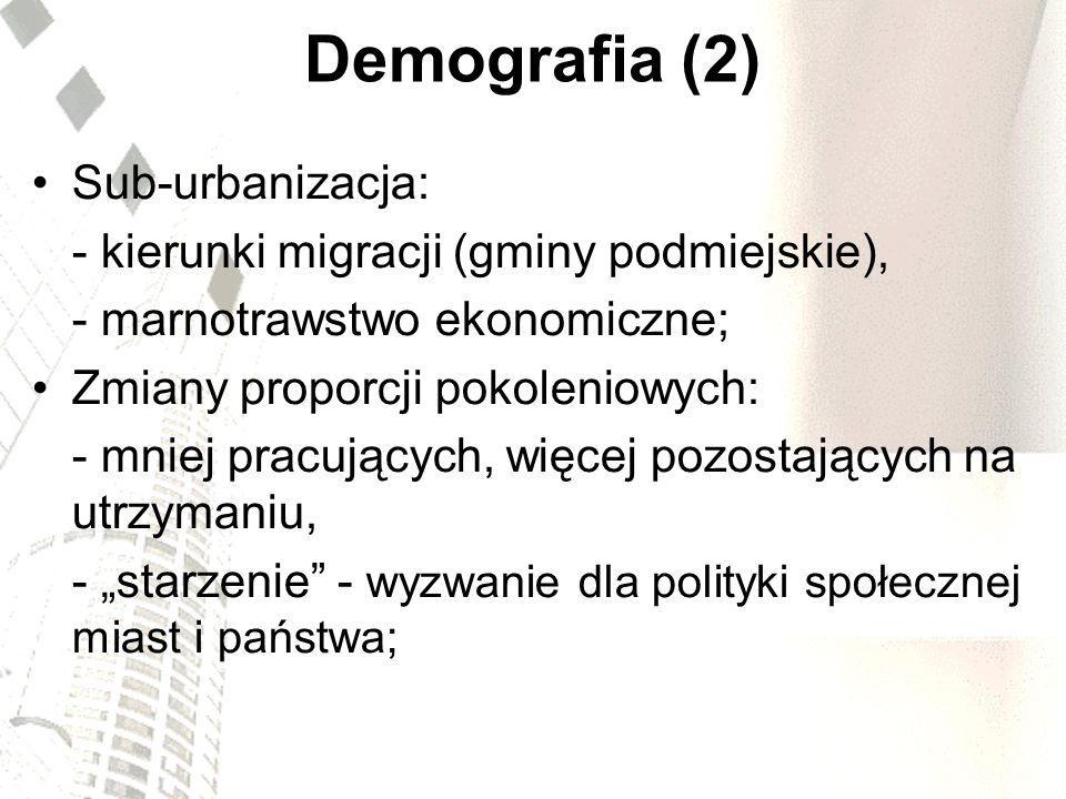 Demografia (2) Sub-urbanizacja: