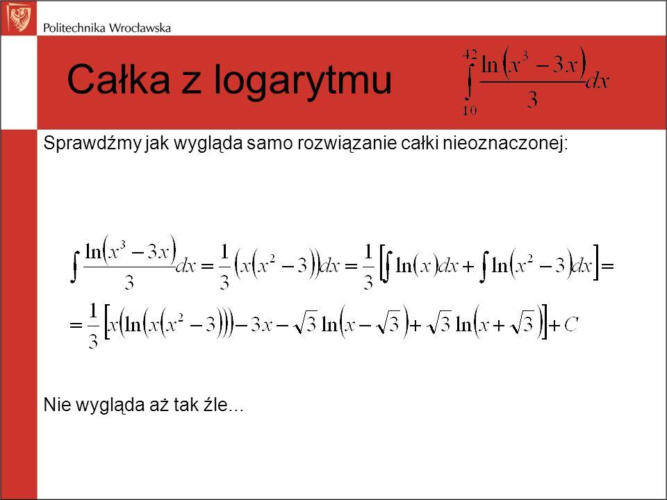Całka z logarytmu Sprawdźmy jak wygląda samo rozwiązanie całki nieoznaczonej: Nie wygląda aż tak źle...