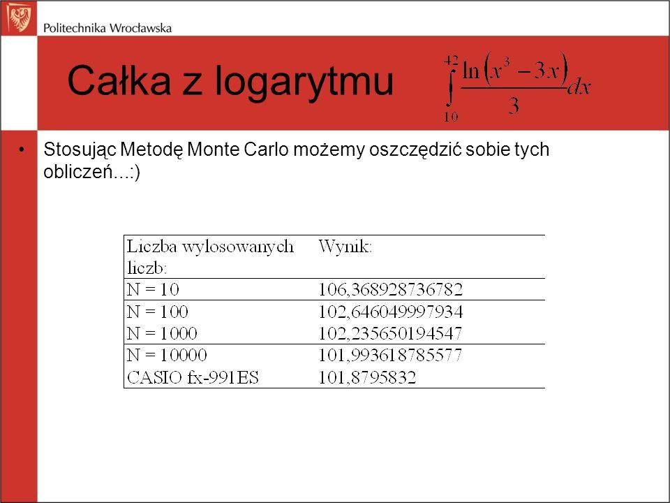 Całka z logarytmu Stosując Metodę Monte Carlo możemy oszczędzić sobie tych obliczeń...:) 15