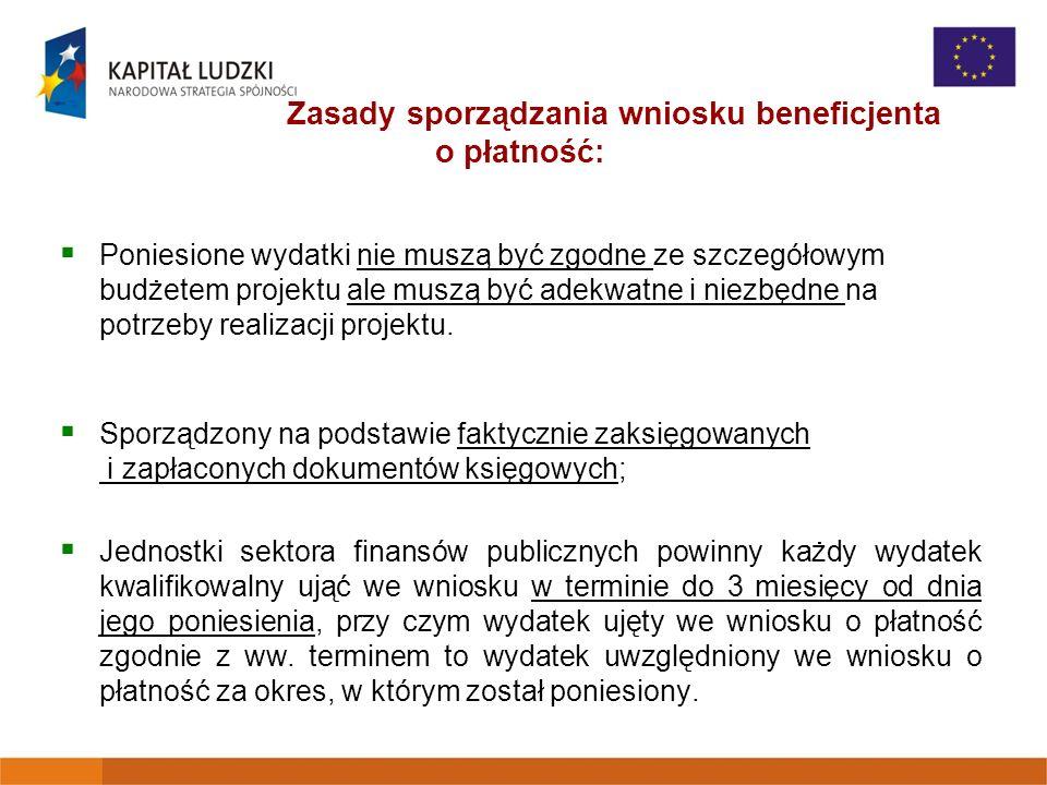 Zasady sporządzania wniosku beneficjenta o płatność: