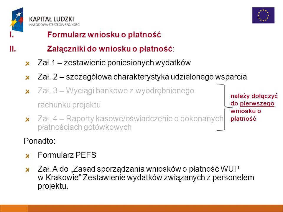Formularz wniosku o płatność Załączniki do wniosku o płatność: